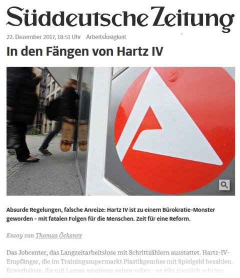 """Links zum Artikel der Süddeutschen """"In den Fängen von Hartz IV"""""""